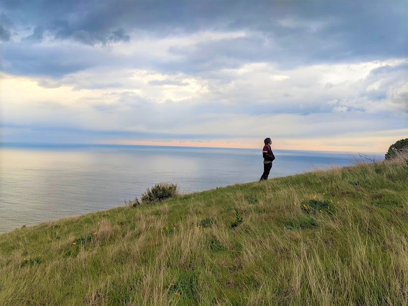 Picture of man on hill in Big Sur, with clouds and ocean in background.