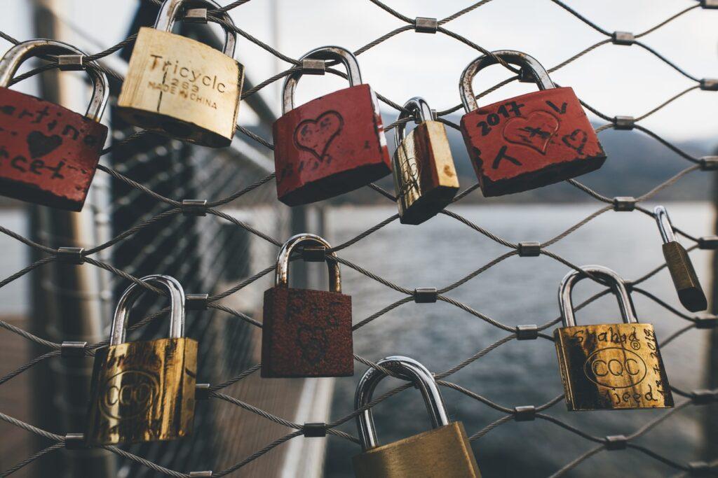 Love locks on fence.