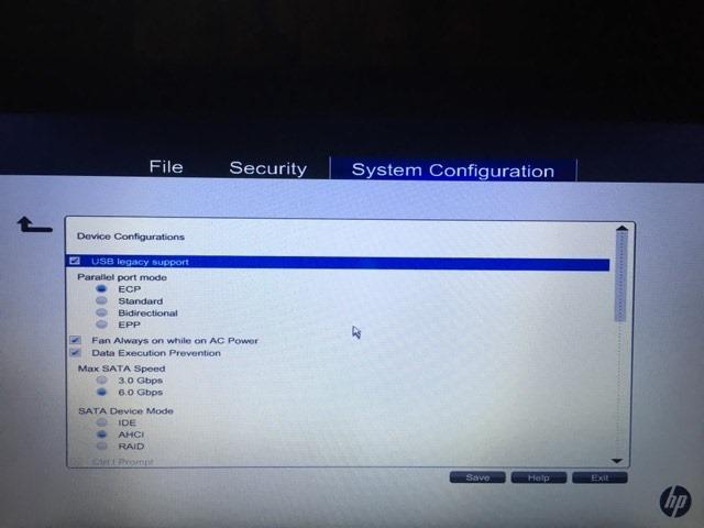 "Windows BIOS ""device configurations"" menu."