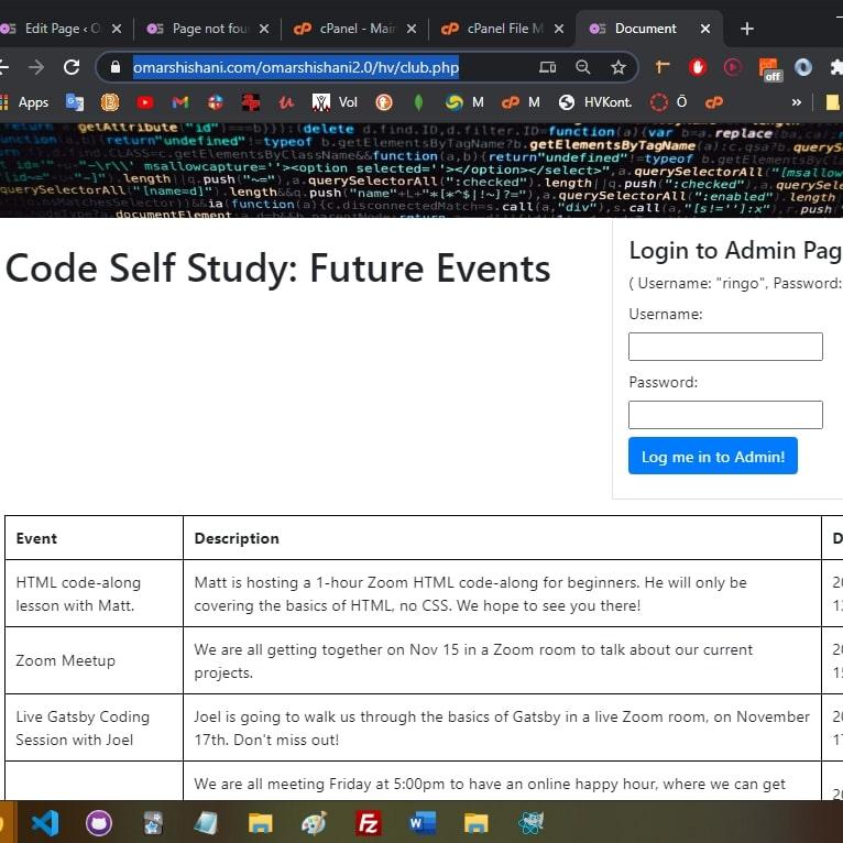 Event list website.