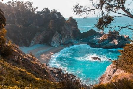 Beach and cliffs.