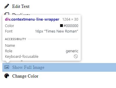 Context menu in chrome dev tools inspector.