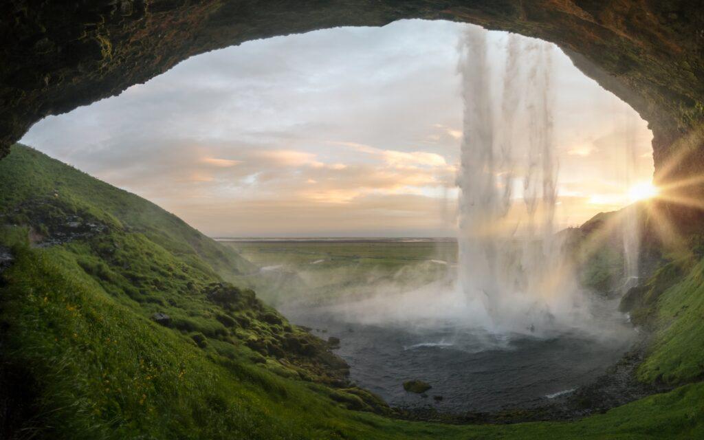 Waterfall cave.