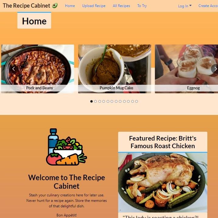 Recipe site screenshot.