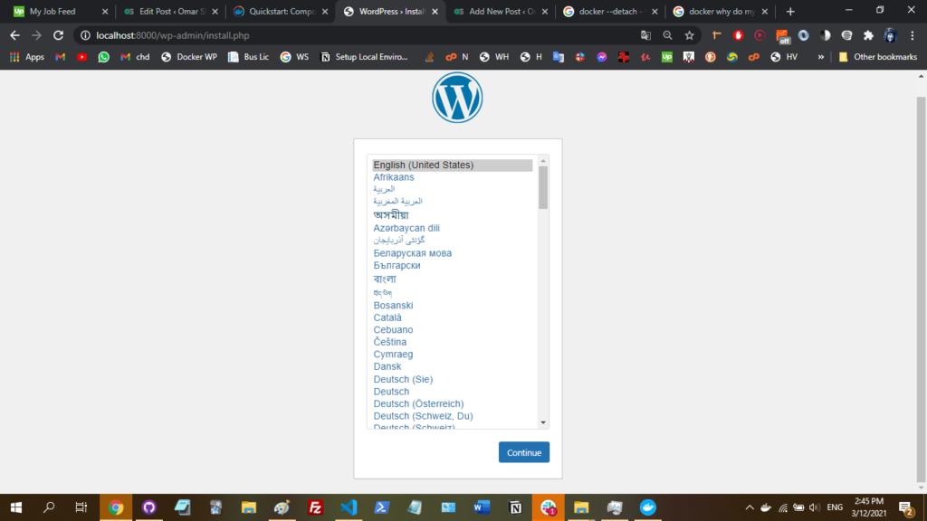 WordPress setup page.