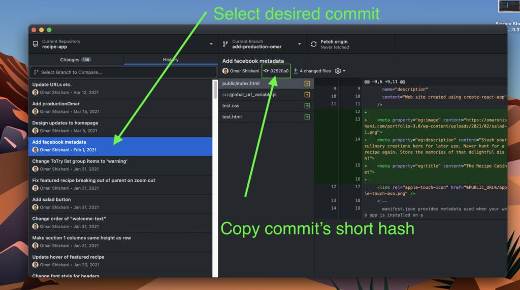 GitHub desktop commit short hash.