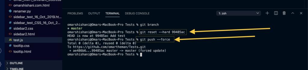 Git reset - -hard command.