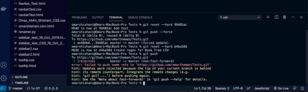 """Git """"updates rejected"""" error message."""