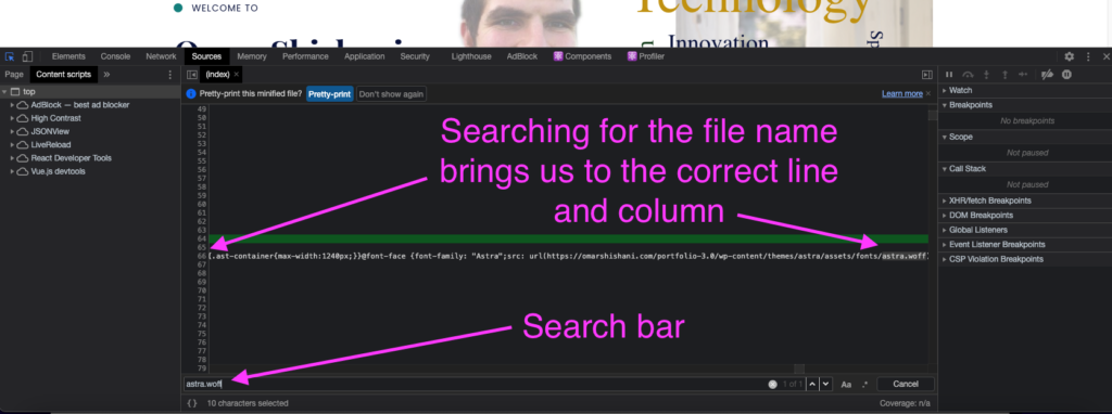 """Searching """"Sources"""" tab in Chrome Dev Tools."""