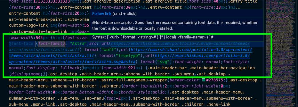 """@font-face"" in VSCode editor."