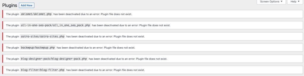 """WordPress dashboard """"Plugins"""" page with plugins error messages: """"The plugin [plugin-name] has been deactivated due to an error: Plugin file does not exist"""""""