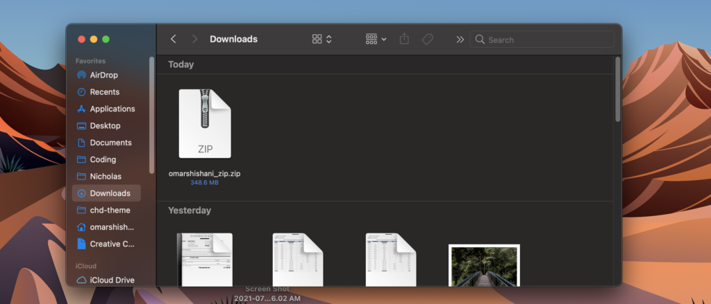 zip file in Downloads folder on Mac.