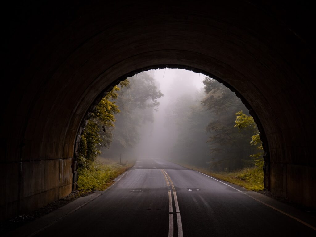 Tunnel on road with forest on other side.